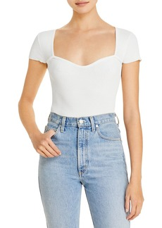 Lucy Paris Sweetheart Short Sleeve Ribbed Top