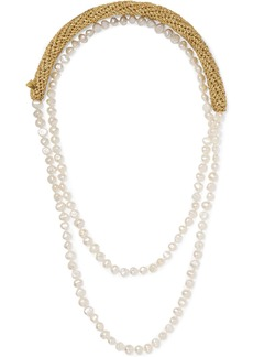 Lucy Pearl Diver gold-plated, Lurex and pearl necklace