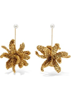 Lucy Spritz gold-plated, Lurex and pearl earrings