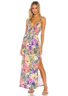 Luli Fama Shocking Florals Spaghetti Strap Ruffle Long Dress