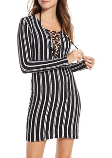 Luli Fama Stripe Long Sleeve Lace-Up Cover-Up Dress