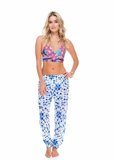 Luli Fama Women's Beautiful Mess Smocked Gypsy Pant Cover Up  S