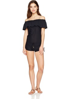 Luli Fama Women's Solids Cosita Buena Drifter Romper Dress Cover up Swimwear  SML