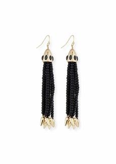 Lulu Frost Beaded Black Tassel Drop Earrings