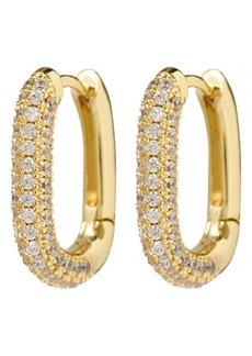 Women's Luv Aj Pave Link Huggie Hoop Earrings