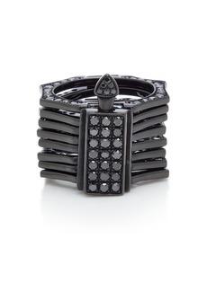LYNN BAN - Women's Reverso Rhodium and Black Diamond Convertible Ring - Black - Moda Operandi
