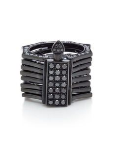 LYNN BAN Reverso Rhodium and Black Diamond Convertible Ring