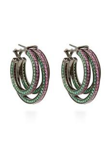 Lynn Ban Sonic sapphire & rhodium-plated hoop earrings