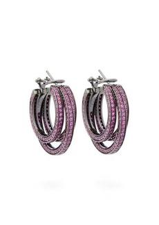 Lynn Ban Sonic sapphire & rhodium triple-hoop earrings