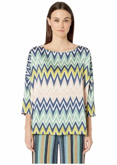 M Missoni Boat Neck 3/4 Sleeve Silk Top in Zigzag Print