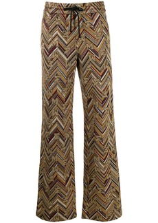 M Missoni chevron pattern wide-leg trousers