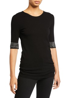 M Missoni Crewneck Elbow-Sleeve Tee w/ Sleeve Trim