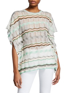 M Missoni Crewneck Short-Sleeve Stripe-Patterned Tunic