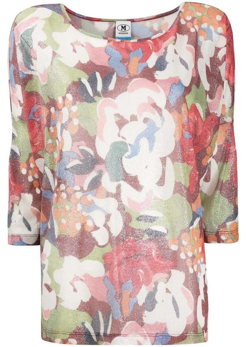 M Missoni cropped sleeve floral print top