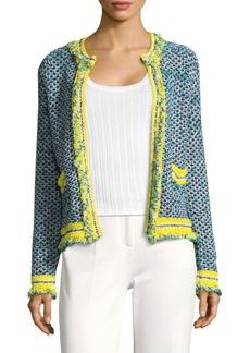 M Missoni Frayed Tweed Open Front Cardigan