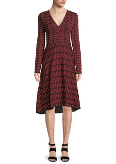 M Missoni Geometric Jacquard Long-Sleeve Dress