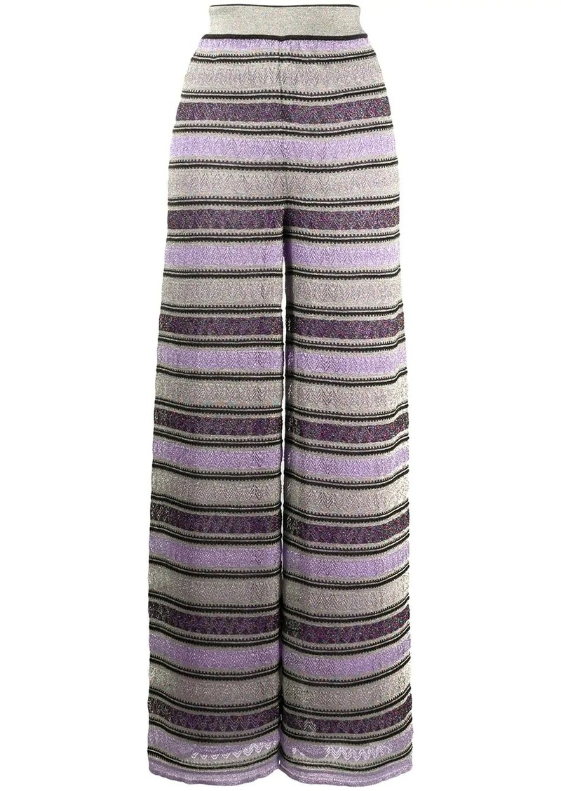 M Missoni geometric wide-leg trousers