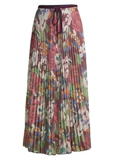 M Missoni Glitter Floral Pleated Midi Skirt