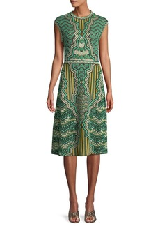 M Missoni Graphic Jacquard Cap-Sleeve Midi Dress