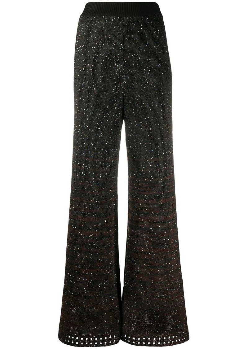 M Missoni knitted sequin embellished palazzo trousers