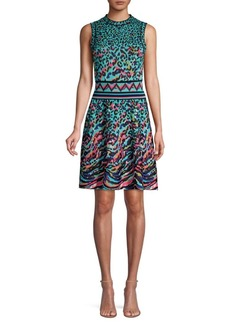 M Missoni Leopard Knit Flare Dress