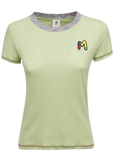 M Missoni Logo Embroidery Cotton Jersey T-shirt