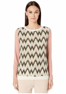 M Missoni Long Sleeve Jersey Top with Silk Front Panel