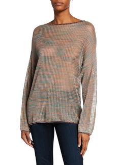 M Missoni Long-Sleeve Space-Dye Mesh Tunic w/ Metallic Trim