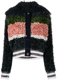 M Missoni panelled shearling cardigan