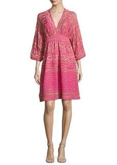 M Missoni 3/4-Sleeve Lurex Zigzag Dress