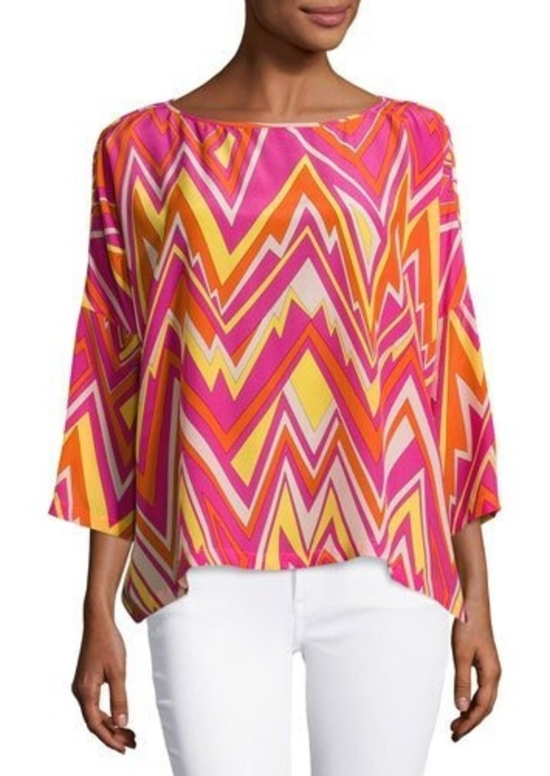 M Missoni M Missoni 3 4 Sleeve Retro Zigzag Silk Blouse