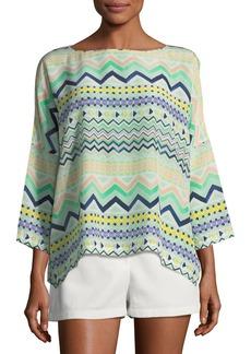 M Missoni 3/4-Sleeve Zigzag-Print Silk Top
