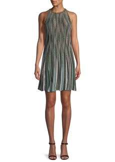 M Missoni Bubble Knit Halter-Neck Dress