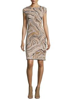 M Missoni Cap-Sleeve Geode Jacquard Sheath Dress