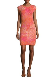 M Missoni Cap-Sleeve Jacquard Sheath Dress