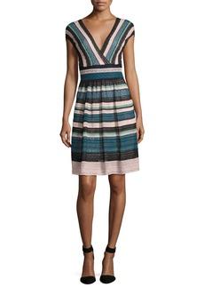 M Missoni Cap-Sleeve Lace Ribbon Knit A-Line Dress