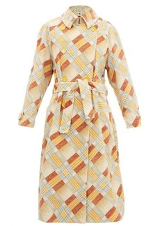 M Missoni Checked upcycled velvet trench coat