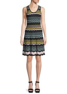 M Missoni Colorblock Sleeveless Ripple-Knit Dress