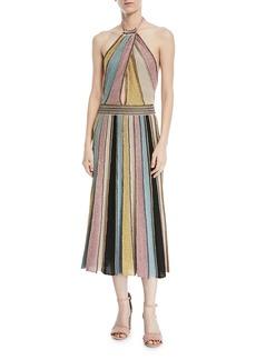 M Missoni Crochet Striped Halter Dress