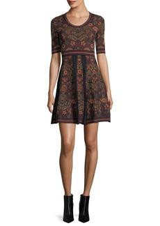 M Missoni Elbow-Sleeve Floral Jacquard Knit Dress