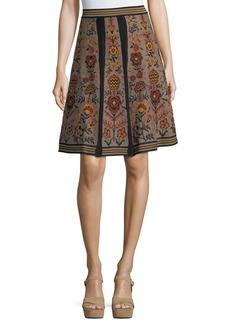 M Missoni Floral Jacquard Knit Swing Skirt
