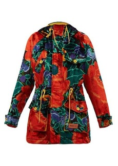 M Missoni Floral-print padded upcycled-velvet hooded parka