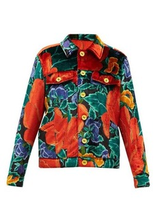 M Missoni Floral-print upcycled-velvet shirt jacket