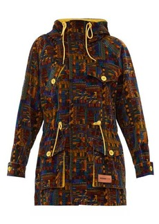 M Missoni Geometric-print upcycled cotton-velvet parka coat