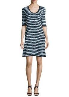 M Missoni Half-Sleeve Broken Zigzag Dress