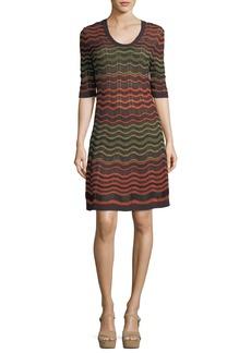 M Missoni Half-Sleeve Greek Key Knit Dress