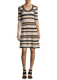 M Missoni Half-Sleeve Lace Ribbon Fit-&-Flare Dress