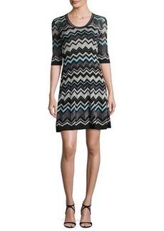 M Missoni Half-Sleeve Lurex® Zigzag Dress