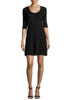 M Missoni Half-Sleeve Rib-Stitch A-Line Dress