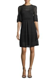 M Missoni Half-Sleeve Rib-Stitch Dress